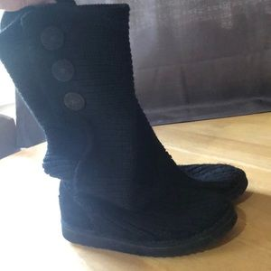 UGG black classic cardi sweater boots